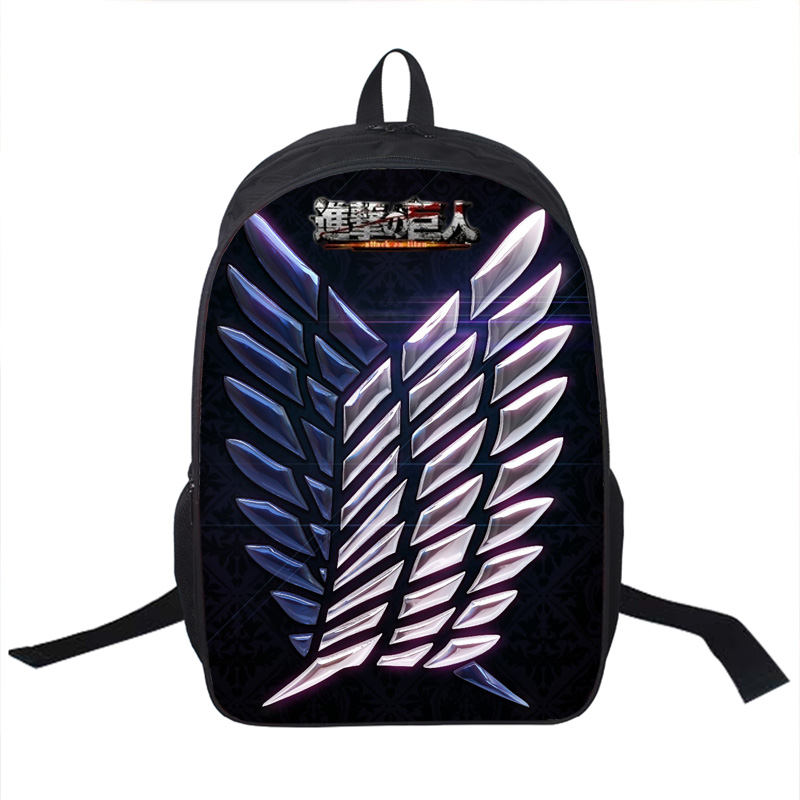 Anime Attack on Titan Backpack Young Men Women Ddaily Backpack Mikasa Ackerman Eren Jaeger School Bags