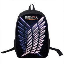 Anime Attack on Titan Backpack Young Men Women Ddaily Backpack Mikasa Ackerman Eren Jaeger School Bags