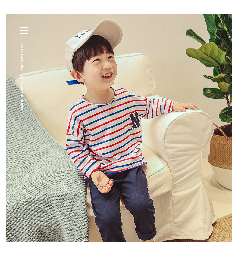 2018 Spring New Korean Childrens T-shirts, T-shirts, N Word Striped Boys And Girls T - Shirts