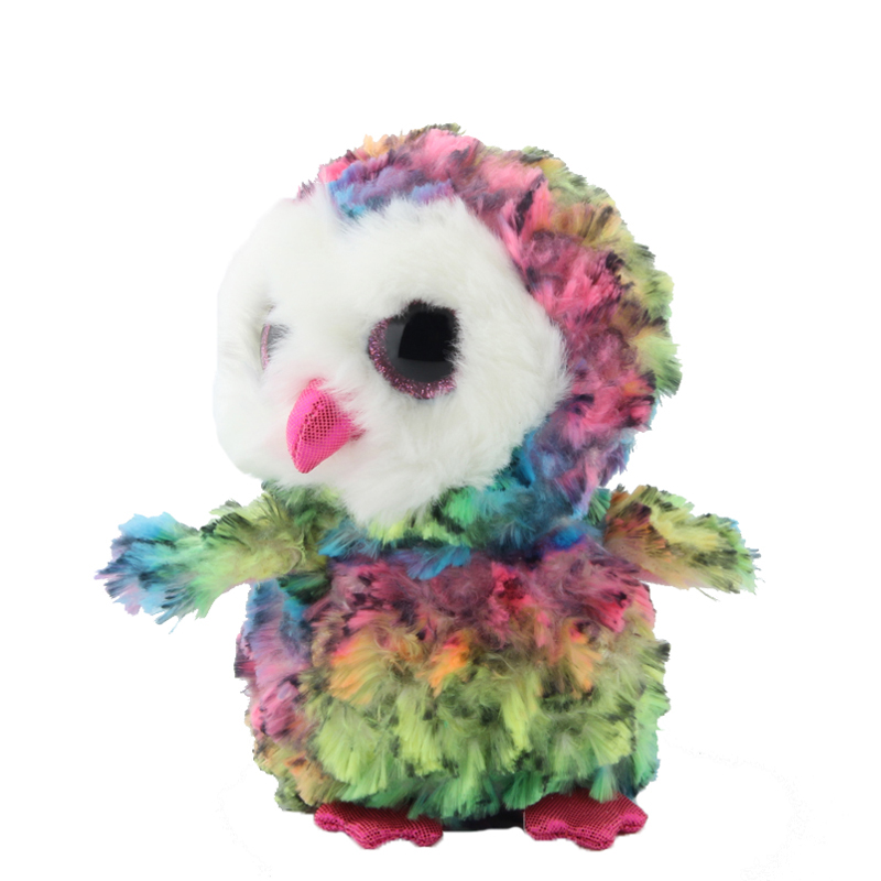 Ty Beanie Boos Stuffed   Plush Animals Tilted Head Colorful Owl Toy Doll 6