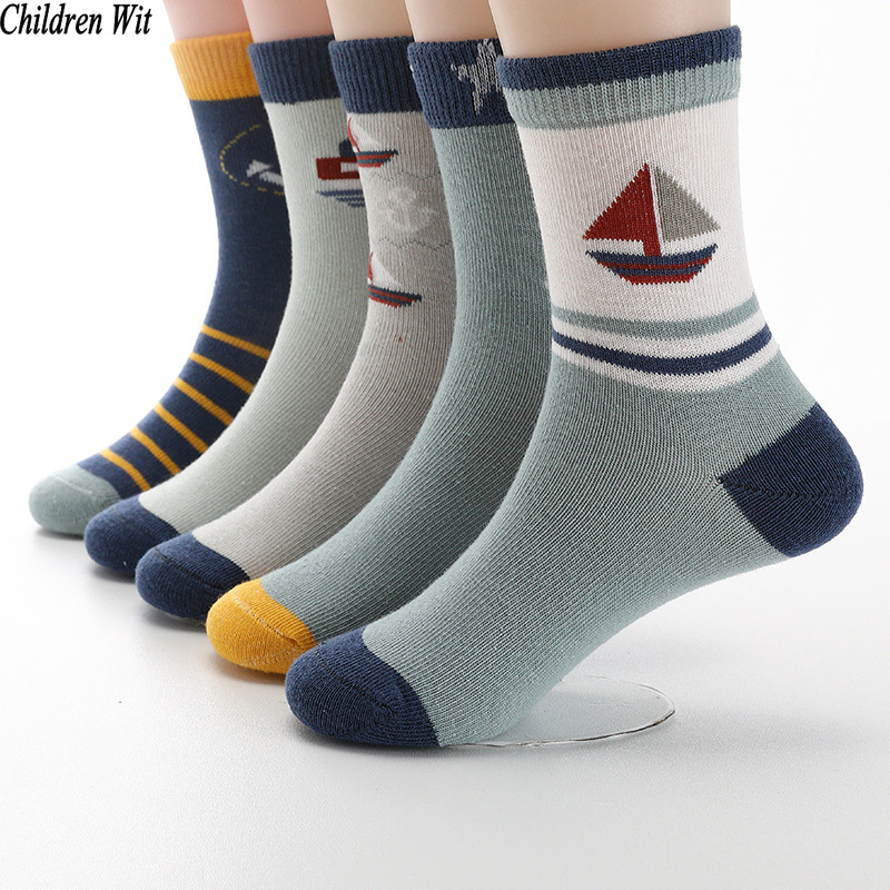 Children Wit  Autumn And Winter New Kids Socks Cotton Cute Sailboat Pattern Boys Girls Socks 3-12 Year Student Socks 5 Pairs