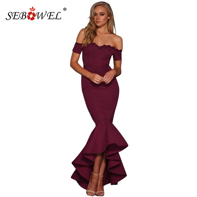 SEBOWEL Elegant Lace Trim Off Shoulder Party Maxi Dress Women Formal Sexy  Burgundy Evening Gowns Bodycon Mermaid Long Dresses -in Dresses from Women s  ... 0578da4118df