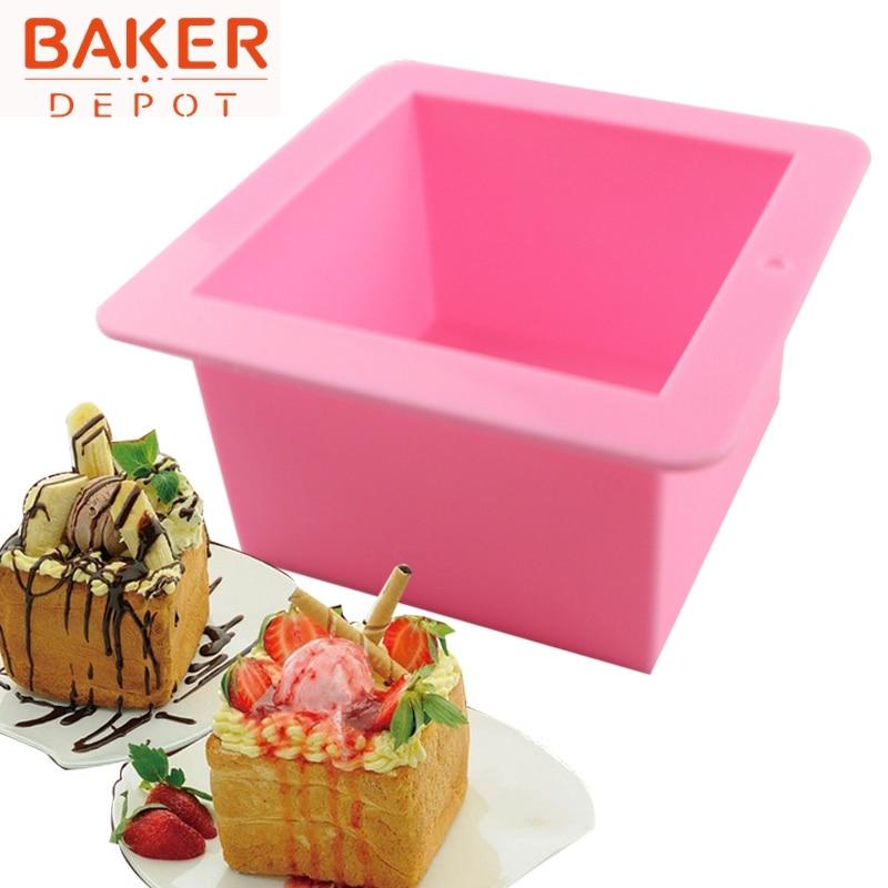 Silicone soap mold 500ml straight quadrel 9 * 9 * 6.5cm silicone bakeware bread moulds  SSM-001-7
