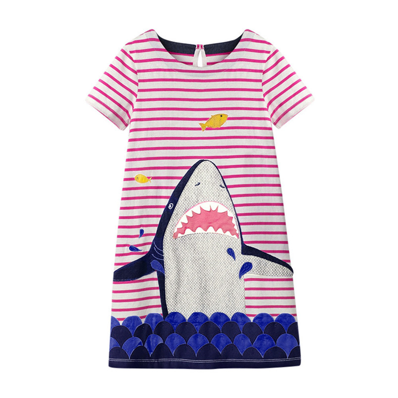 2018 Hot Sale Summer Dress Toddler Baby Kid Girl Pattern Dress robe Sleeve Striped Dress Outfit Clothe vestido de festa longo T