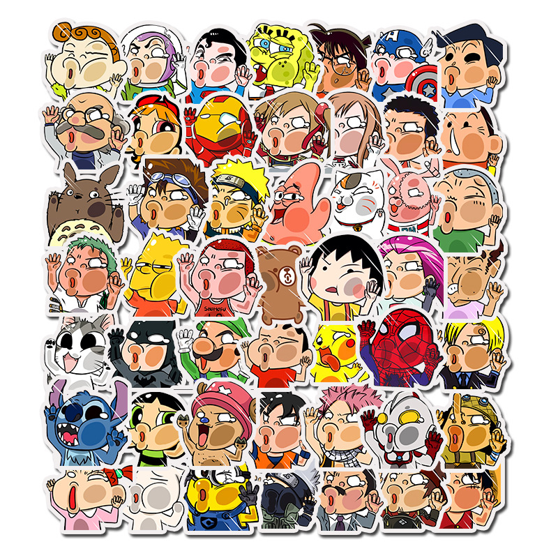 50 Mixed Pcs Of Graffiti Style Cartoon Fun Stickers DIY Travel Suitcase Luggage Sticker Waterproof Skateboard Stickers Kids Toy