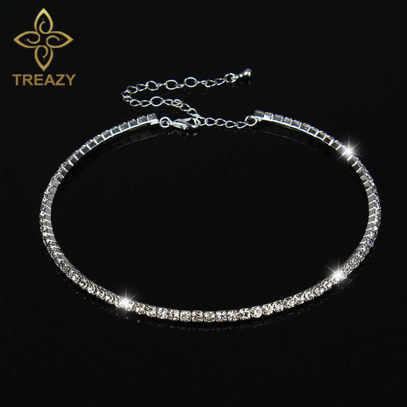 TREAZY Women Crystal Diamante 1 Row Rhinestone Necklace Wedding Bridal Party Collar Choker Chain Necklace Jewelry Gift