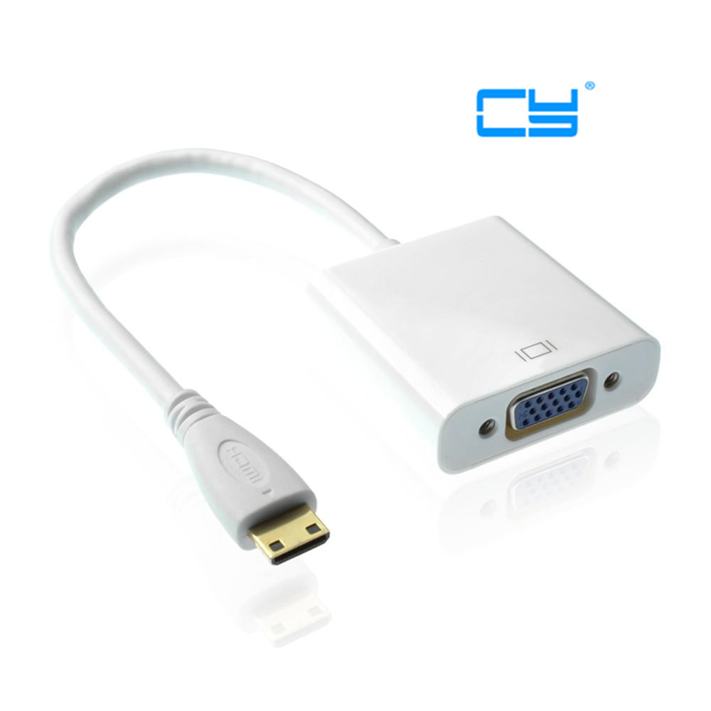 Type C Mini HDMI Input to VGA Female Output with 3.5mm Audio Adapter for Tablet & Mobile Phone & Projector Monitor