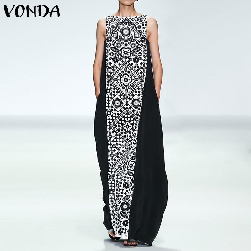 Макси длинный женский винтажный комбинезон летнее платье VONDA без рукавов пляжное Vestidos плюс размер вечернее платье Femme сексуальный сарафан