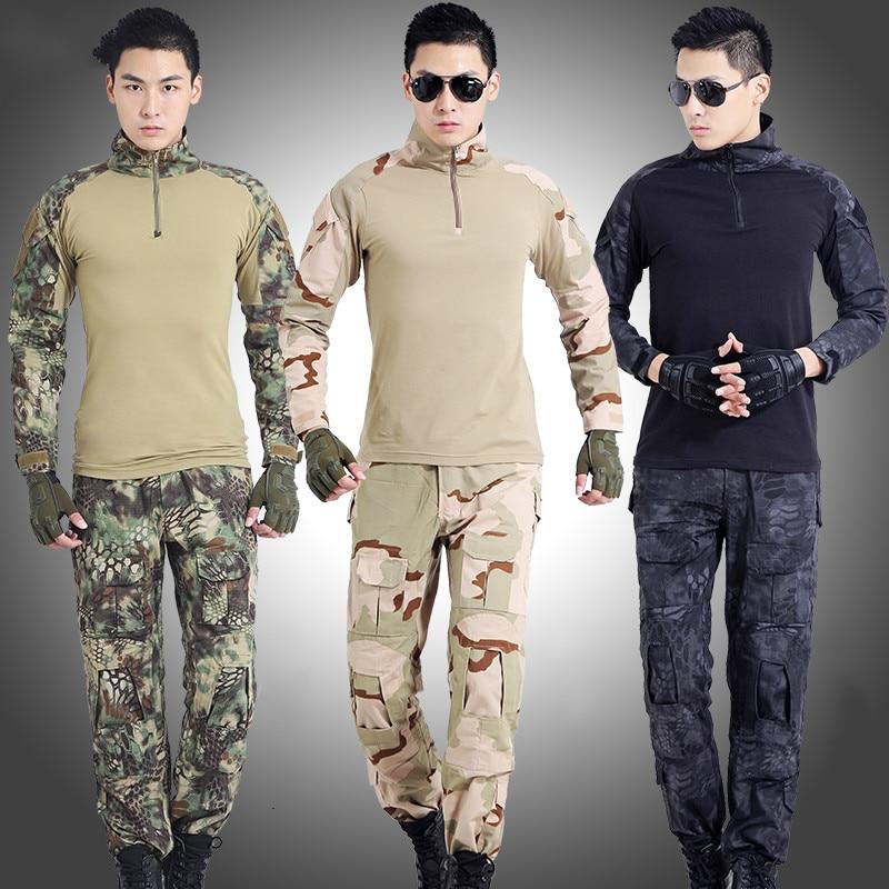 Leger Tactische Militaire Uniform Pak Lange Mouw Battle Strike Outdoor CS Uniformen Camouflage Combat Shirt + Broek - 2