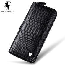 WILLIAMPOLO 2017 Fashion Business Man Snakeskin Alligator Pattern Luxury Brand Purse Wallet POLO135