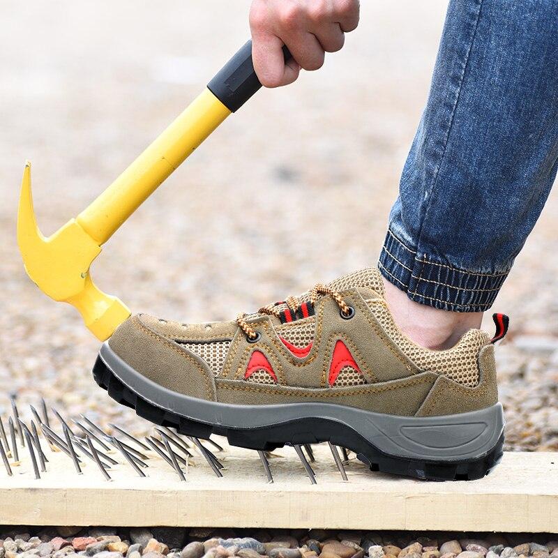 Botas Calçados Exército Caminhadas khaki De Multifuncionais Do Homens Sneakers Sapatos Cinza Militar Aço Biqueira Trabalho Protecção Dos Mans Respirável Segurança dZ7dB