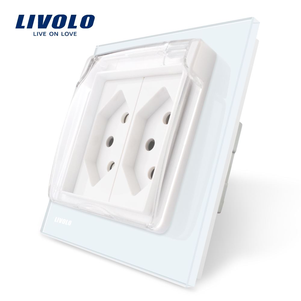 Livolo EU Standard two gang Switzerland Power Socket,3colors Glass Panel, AC110~250V , VL-C7C2CHWF,with the Waterproof Cover.