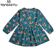 Christmas Dress Girl Autumn Girls Dress Cotton Long Sleeve Children Dress Floral Kids Dresses for Girls Fashion Kids Clothes