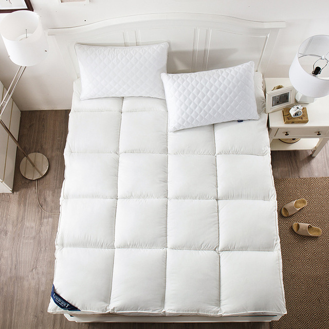 5CM Thickness Feather Down Hotel Mattress Solid Microfiber Filling Single Double Twin Queen King Size Sleeping Mattress