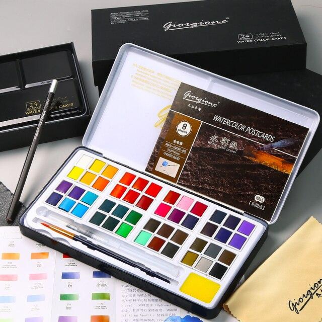 Juego de 48 colores de pintura de Color agua sólida caja de hierro de Metal pintura de acuarela pigmento de bolsillo para dibujar con 7 regalos suministros de arte