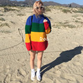 2016 New Spring Winter Ulzzang Loose Long Sleeve Retro Rainbow Knitted Sweater Women Sweaters Pullovers Girls Pull Femme