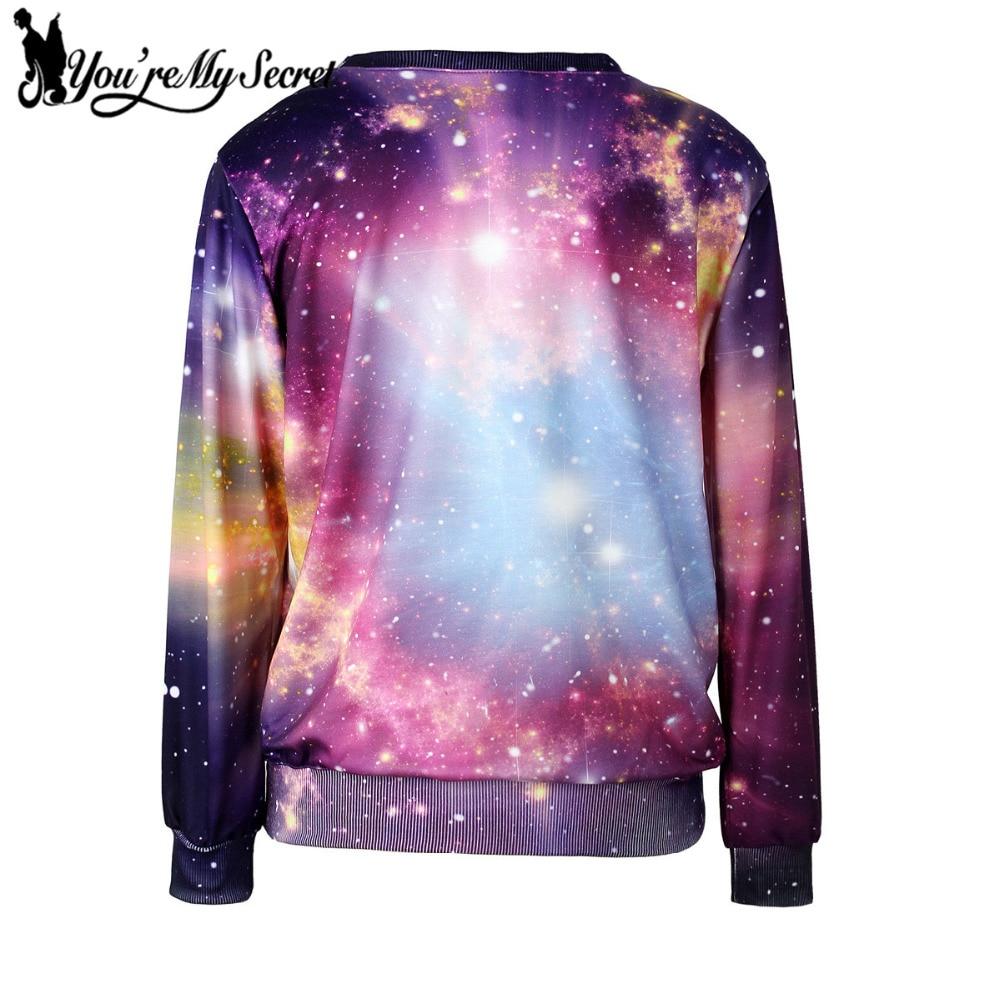 [Youre My Secret] Brand Women Hoodies O-Neck Long Sleeve 3D Printed Women Sweatshirts Cosmic Galaxy Space Loose Suit WYL2017