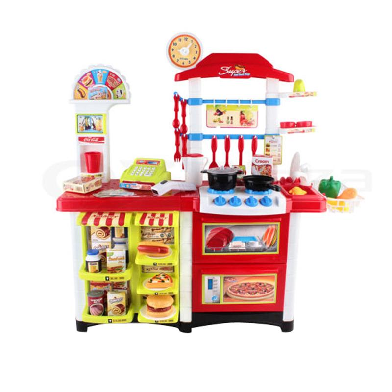 Kids Kitchen Pretend Cooking Role Play Supermarket Set Toddler Children Toy Furniture Toys Pretend Play Toy (Red) 32pcs set repair tools toy children builders plastic fancy party costume accessories set kids pretend play classic toys gift