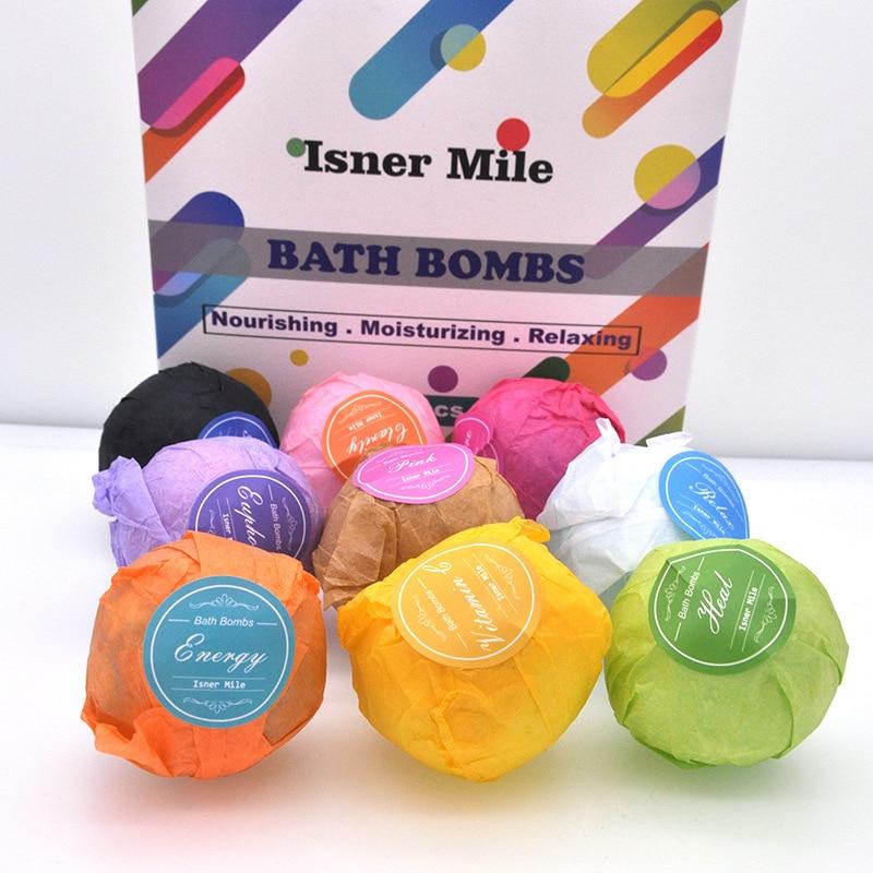 New 9Pcs/set Bath Salt Bombs Bubble Salts Ball Oil Sea Salt Handmade SPA Stress Relief Exfoliating Ginger Coconut Oil Flavor