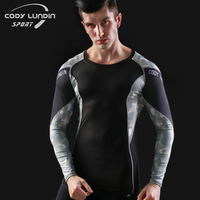 Camouflage 3D Printing Quick Dry Breathable Tights Army Long Sleeve T Shirt Mens Compression T Shirt