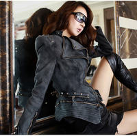 New Fashion Star Jeans Women Punk Spike Studded Shrug Shoulder Denim Cropped Vintage Jacket Coat S