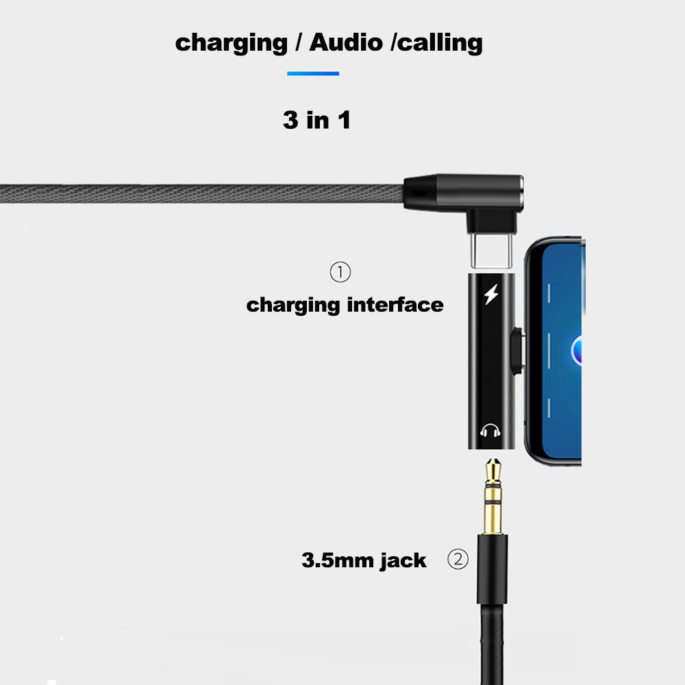 2 In 1 USB Type C To 3 5mm Earphone Jack Aux Audio Headphones Adapter For  Xiaomi Huawei Samsung Charging Cable Converter Hdmi Port Adapter Hdmi To  Vga