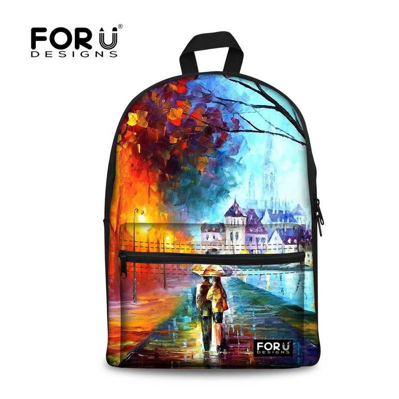 FORUDESIGNS Fashion 3D Painting Printing Canvas Backpack For Women Children Casual Backpacks For School Travel Bagpack