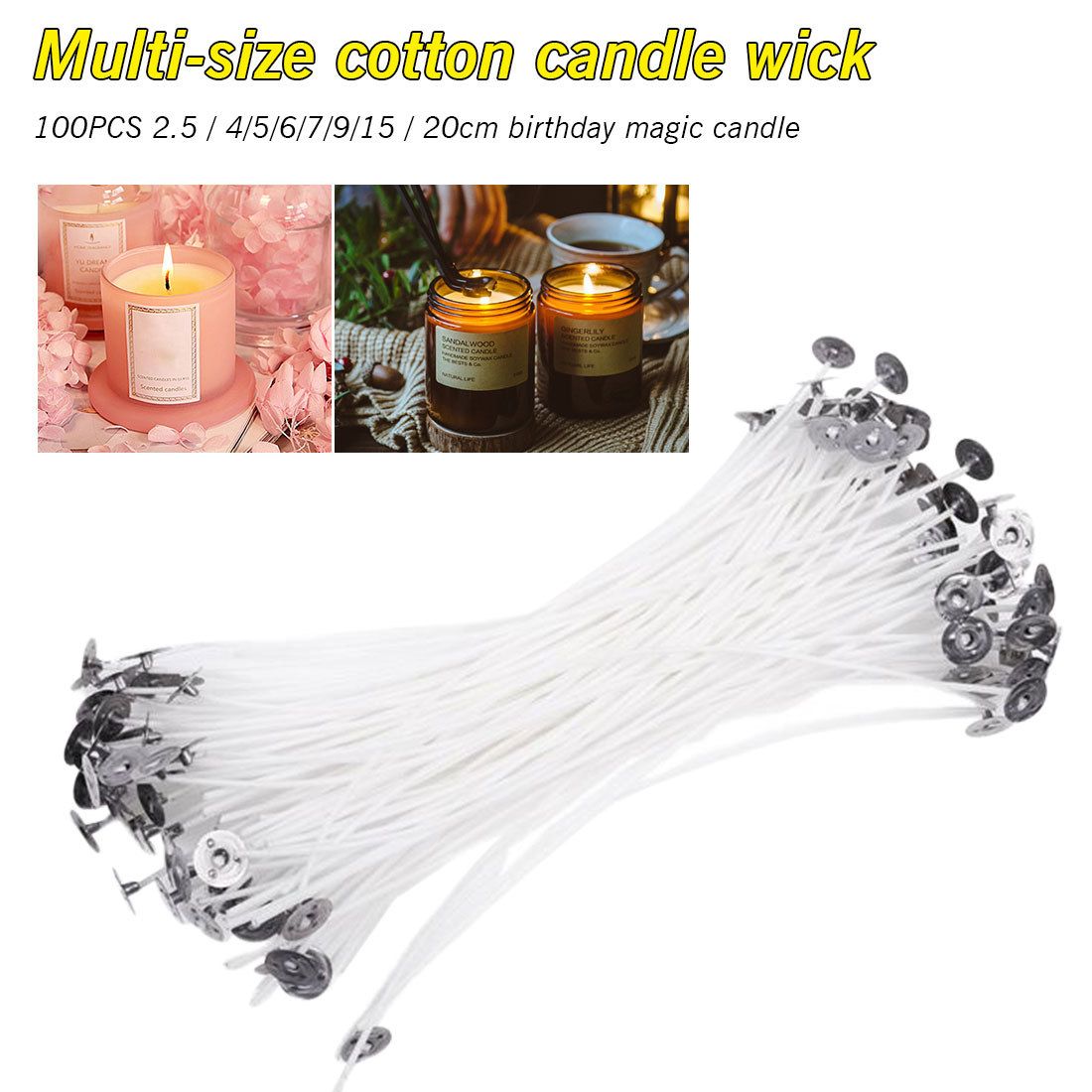 40 x 5cm 50mm Pre Waxed Wicks For Candle Making with Sustainers HIGH QUALITY