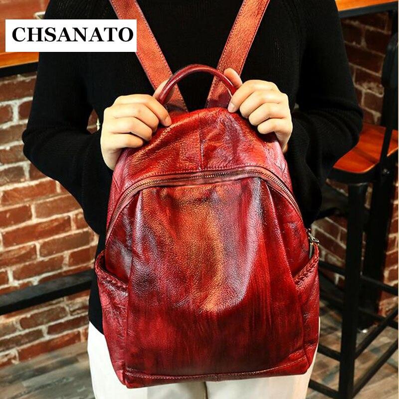 все цены на CHSANATO Stylish Backpacks Genuine Leather Backpacks Female School Shoulder Bags Teenage Girls College Student Casual Bag