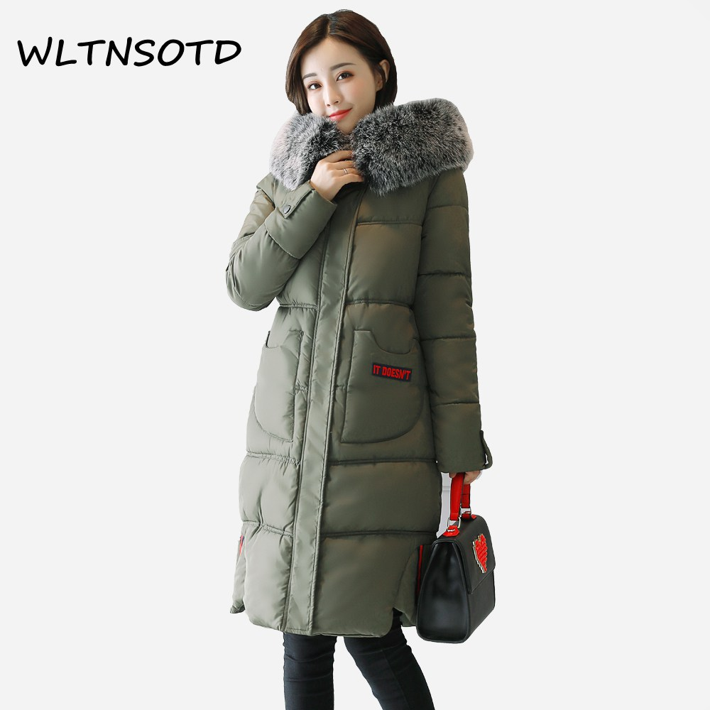 2017 new winter cotton coat women big Fur collar long Hooded Slim thick jacket Female fashion thick letter printing Parkas 2017 winter new cotton coat women slim long hooded thick jacket female fashion warm big fur collar solid hem bifurcation parkas