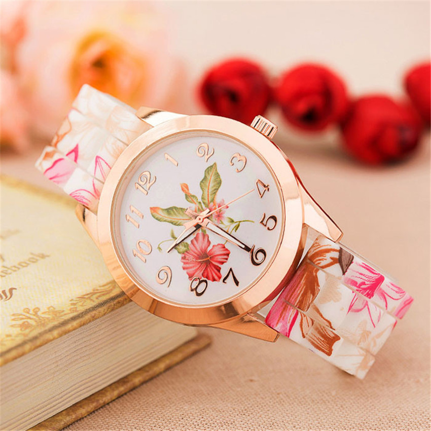 Women Retro Pastoral Style Watch Dames Kijken Silicone Printed Flower Quartz Wrist Watches Round Digital Dial Girl Analog B40
