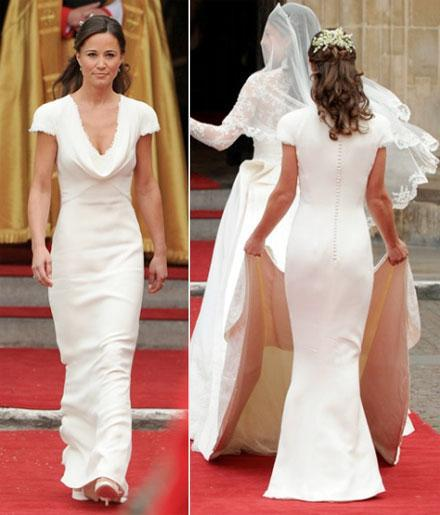 Pippa Middleton S Dridesmaid Dress For The British Royal Wedding Vintage Covered On Short Sleeve Cowl Neck