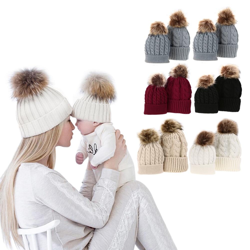 1 Pcs Babys Hat+ Adults Hat Warm Raccoon Fur Bobble Beanie Cotton Knitted Striped Parent-child Hat Red Black White Khaki Gray