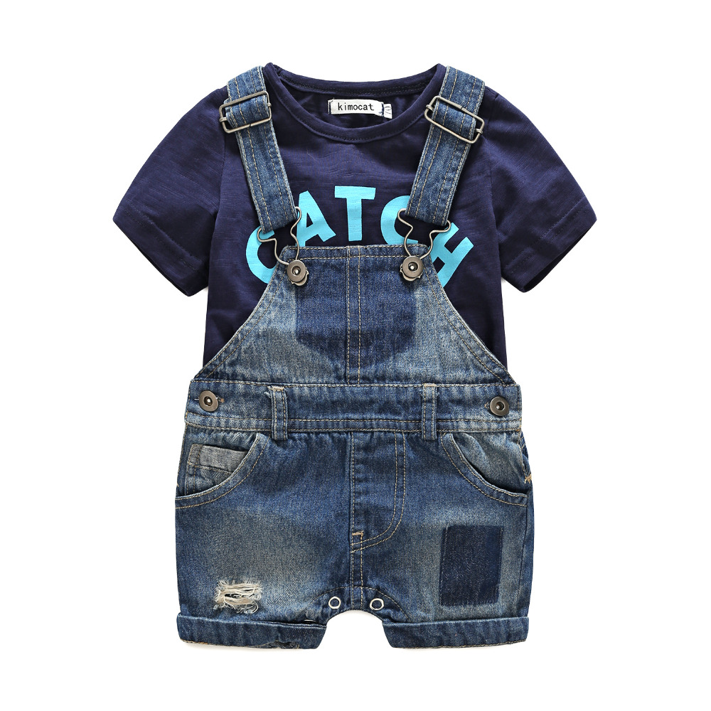 Kimocat Short Sleeve T Shirt + Overalls Baby Clothing Sets Letter Print Baby Boy Clothes Sets Spring Style