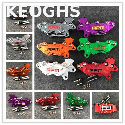 Keoghs Rpm Motorcycle Brake Caliper Left And Right 40mm Hole To Hole 4 Piston Cnc Aluminum For Yamaha Kawasaki Honda Modify keoghs motorcycle brake disc floating 220mm 70mm hole to hole for yamaha scooter honda modify