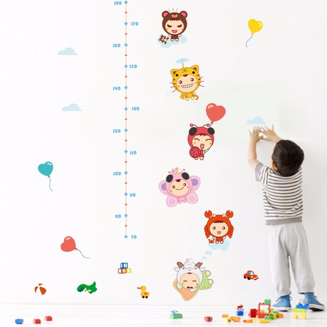 Cartoon Baby Height Ruler Wall Stickers Kids Babies Infant Room