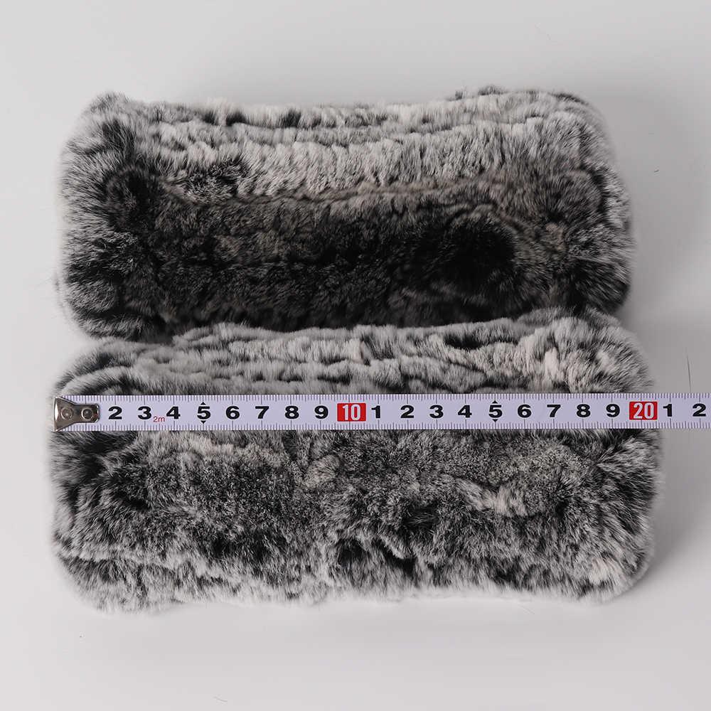 新しい Women100 % リアル本物のニットレックスウサギの毛皮ミトン冬暖かい女性リアルファー指なし手袋ハンドメイドニット毛皮ミトン