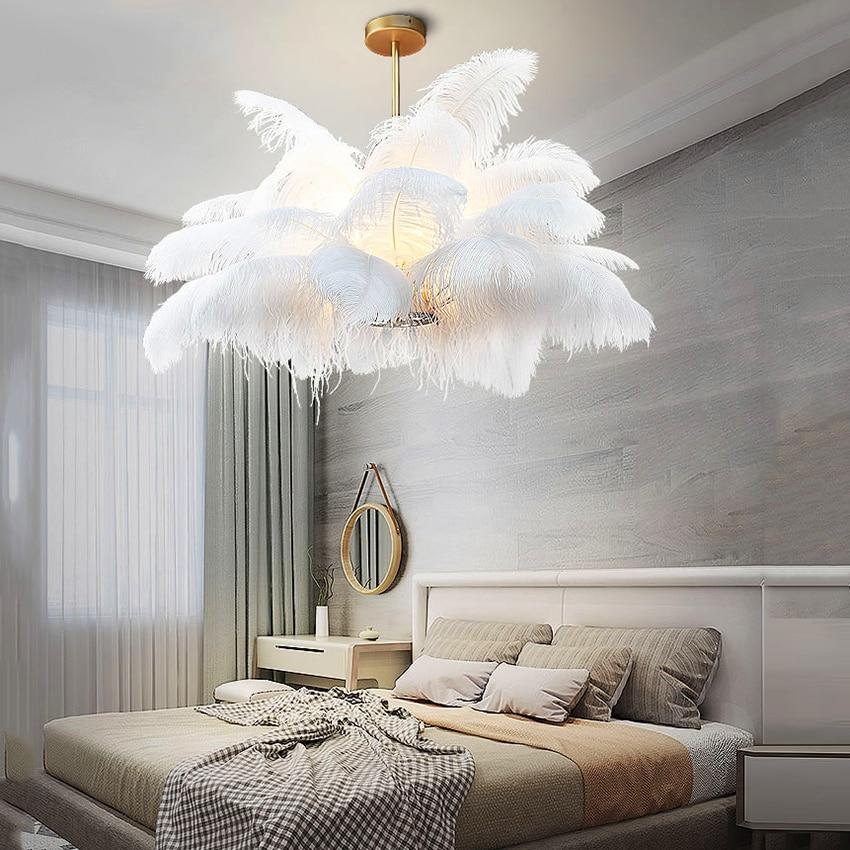 Luces colgantes nórdicas LD pluma de avestruz natural LOFT lámpara colgante LED dormitorio Sala restaurante iluminación decorativa lámpara colgante