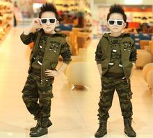 Children Camouflage Clothing Suit 3 Pcs Set Spring Fall Boys Military Uniform Clothes Kids Hooded Vest Coat + Tops + Pants B181 basik kids vest hooded gray melange kids clothes children clothing
