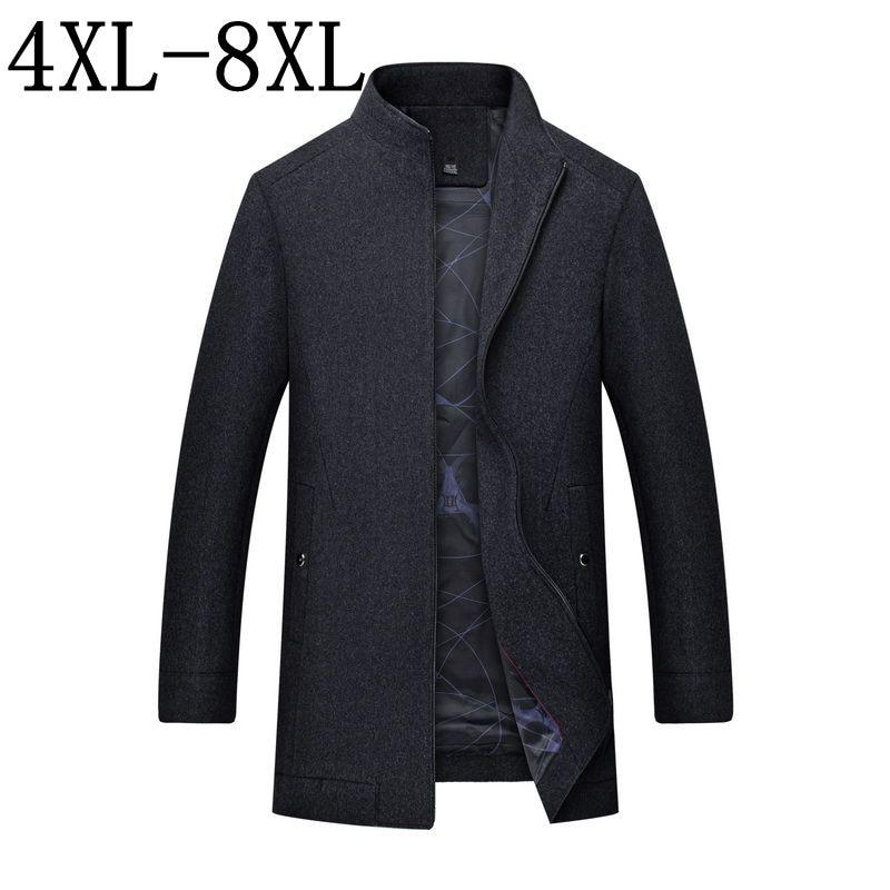 Erkek Kıyafeti'ten Yün ve Karışımları'de Sonbahar Kış Yün Ceket Erkekler 2018 Yeni Erkek Kalınlaşmak Ceket Iş Casaco Masculino Casual Trençkot Palto Boyutu 6XL 7XL 8XL'da  Grup 1