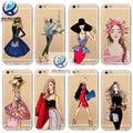 Marca nuevo teléfono case para iphone 7 6 6 s más 5 5S SÍ 6 Más Cubierta de Moda de Compras Vestido de Bebe Chica Suave Silicona Teléfono Móvil bolsa