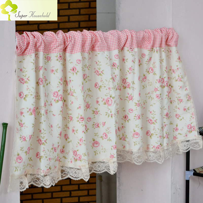 Short Curtains Valance Pelmet Printed Pink Floral Kitchen Curtains for Living Room Window Blinds