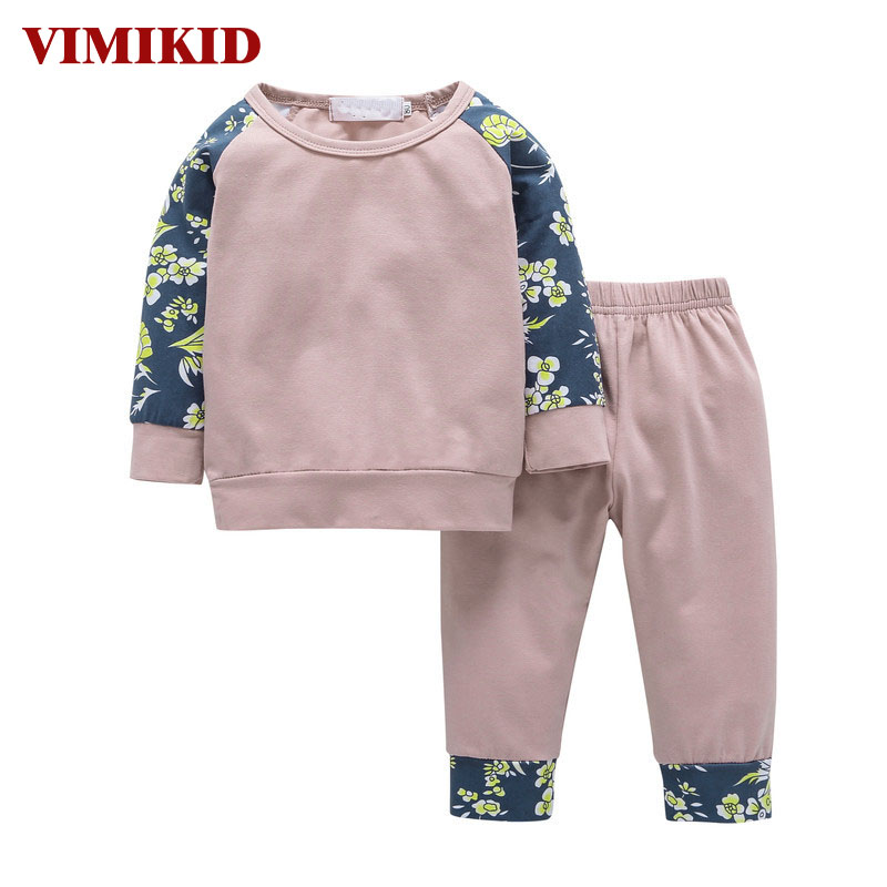VIMIKID 2017 Newborn Baby Infant Girls Clothes Tops T-Shirts Long Sleeve Outfits Flower Pants Casual Baby Girl Clothing New 3pcs set newborn infant baby boy girl clothes 2017 summer short sleeve leopard floral romper bodysuit headband shoes outfits