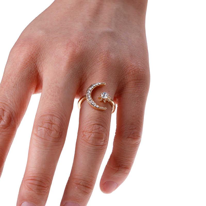 Хит продаж, модные кольца с Луной и звездой, женские свадебные украшения, открытое регулируемое кольцо, подарок, новое