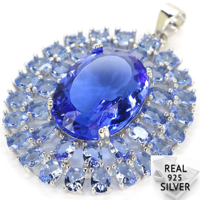 Guaranteed Real 925 Solid Sterling Silver 6 7g Big Top Long Big Gems Rich Blue Violet Tanzanite Pendant 39x28mm in Pendants from Jewelry Accessories