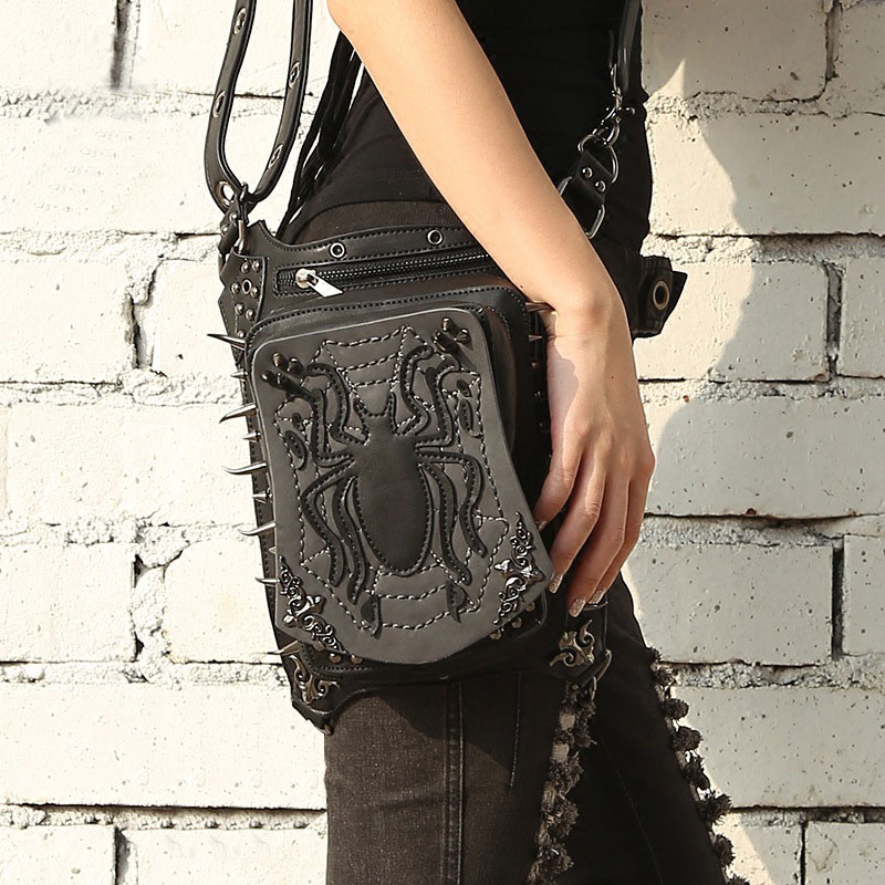 2018 New Stylish Handmade Steam Punk Holster bag Rock Canvas Steampunk Bag Retro Goth Shoulder Waist Bag Ladies Satchel Bag stylish metal and canvas design satchel for women