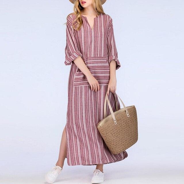 ZANZEA Fashion Autumn Spring Long Sleeve Vintage Women Long Striped Dress Casual V Neck Loose Long Maxi Dress Vestidos Plus Size