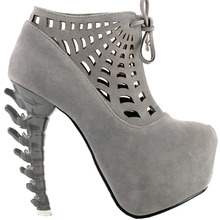 LF80643 Punk Spider Web Lace-Up High-top Bone High Heel Platform Ankle Boots Black/Grey