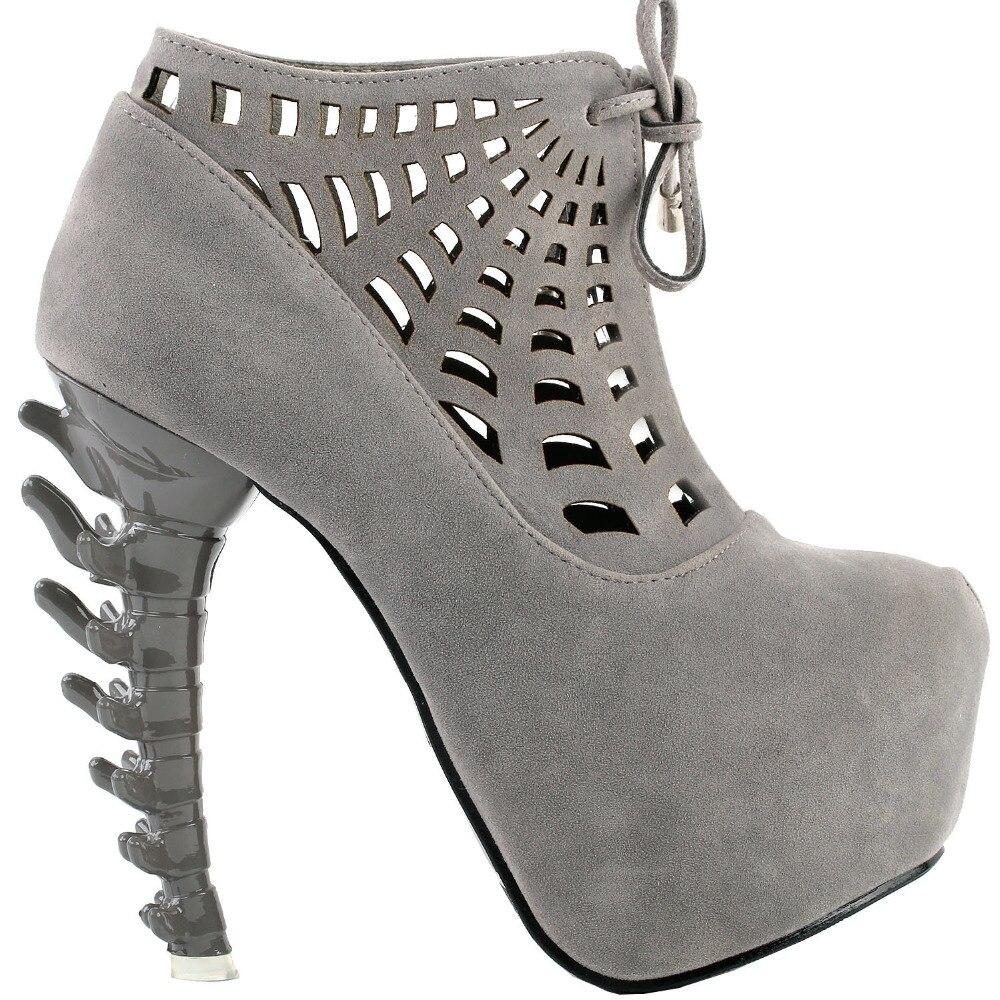 LF80643 Punk Spider Web Lace Up High top Bone High Heel Platform Ankle font b Boots