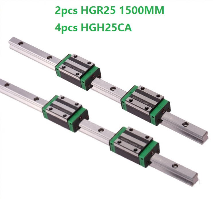 2pcs Linear Guide Rail HGR25 -L 1500MM And 4pcs HGH25CA Linear Narrow Slide Blocks For CNC Router Parts
